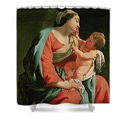 Madonna And Child Shower Curtain by Simon Vouet