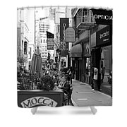 Maiden Lane San Francisco California - 5d19376 - Black And White Shower Curtain by Wingsdomain Art and Photography