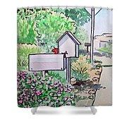 Mail Boxes Sketchbook Project Down My Street Shower Curtain by Irina Sztukowski