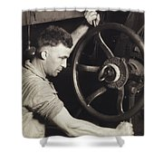 Making Auto Tires Shower Curtain by LW Hine