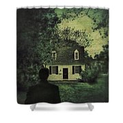 Man In Front Of Cottage Shower Curtain by Jill Battaglia