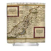 Map Of Palestine, 1588 Shower Curtain by Photo Researchers