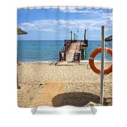 Marbella Beach In Spain Shower Curtain by Artur Bogacki