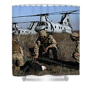 Marines And Sailors Being Transported Shower Curtain by Stocktrek Images