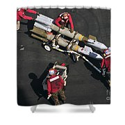 Marines Push Pordnance Into Place Shower Curtain by Stocktrek Images