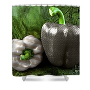 Metal Peppers Shower Curtain by Cheryl Young