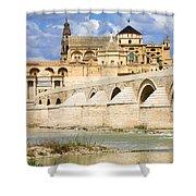Mezquita Cathedral And Roman Bridge In Cordoba Shower Curtain by Artur Bogacki