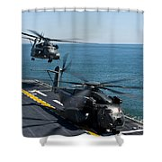 Mh-53e Sea Dragon Helicopters Take Shower Curtain by Stocktrek Images