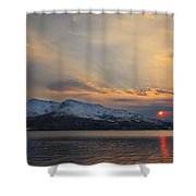 Midnight Sun Over Tjeldsundet Strait Shower Curtain by Arild Heitmann