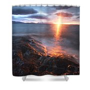 Midnight Sun Over Vågsfjorden Shower Curtain by Arild Heitmann