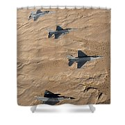 Military Fighter Jets Fly In Formation Shower Curtain by Stocktrek Images