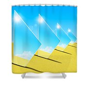 Mirrors On Sand In Blue Sky Shower Curtain by Setsiri Silapasuwanchai