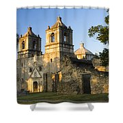 Mission Concepcion In The Evening Shower Curtain by Ellie Teramoto