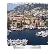 Monaco Harbour Shower Curtain by Marlene Challis