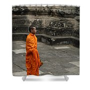 Monk At Ankor Wat Shower Curtain by Bob Christopher