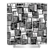 Monochrome Squares Shower Curtain by Louisa Knight