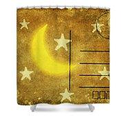 Moon And Star Postcard Shower Curtain by Setsiri Silapasuwanchai