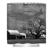 Moon Lit Farm Shower Curtain by Todd Hostetter