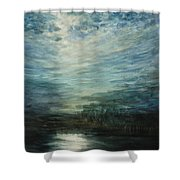 Moon Shimmer Shower Curtain by Estephy Sabin Figueroa