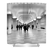 Moscow Underground Shower Curtain by Stelios Kleanthous