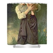 Mother And Child Shower Curtain by William Adolphe Bouguereau
