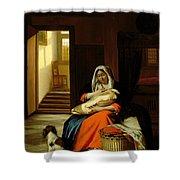 Mother Nursing Her Child Shower Curtain by  Pieter de Hooch