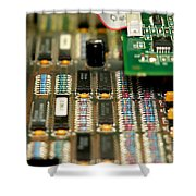 Motherboard Shower Curtain by Henrik Lehnerer