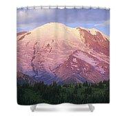 Mount Rainier At Sunrise Mount Rainier Shower Curtain by Tim Fitzharris