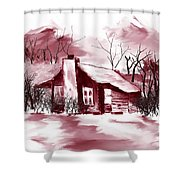 Mountain Cabin Shower Curtain by David Lane