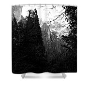 Mountains Of Yosemite . 7d6214 . Black And White Shower Curtain by Wingsdomain Art and Photography