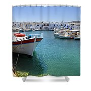 Naoussa - Paros Shower Curtain by Joana Kruse