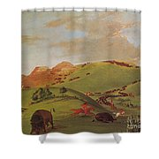 Native American Indians, Buffalo Chase Shower Curtain by Photo Researchers