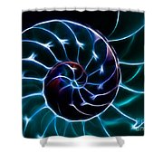 Nautilus Shell - Electric - v2 - Cyan Shower Curtain by Wingsdomain Art and Photography