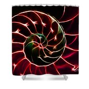 Nautilus Shell - Electric - V2 - Red Shower Curtain by Wingsdomain Art and Photography