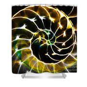 Nautilus Shell Ying and Yang - Electric - v1 - Gold Shower Curtain by Wingsdomain Art and Photography