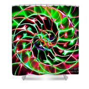 Nautilus Shell Ying and Yang - Electric - v2 - Green Shower Curtain by Wingsdomain Art and Photography