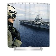 Naval Air Crewman Conducts A Visual Shower Curtain by Stocktrek Images