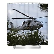 Navy Seals Look Out The Helicopter Door Shower Curtain by Michael Wood