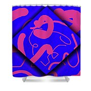 Neon Out of Bounds Shower Curtain by Carolyn Marshall