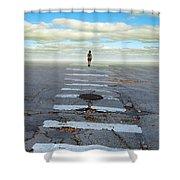 Never Ending Crosswalk Shower Curtain by Jill Battaglia