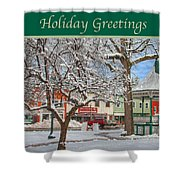 New England Christmas Shower Curtain by Joann Vitali
