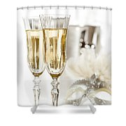 New Year Champagne Shower Curtain by Amanda Elwell
