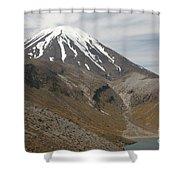 Ngauruhoe Cone And Upper Tama Lake Shower Curtain by Richard Roscoe