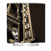 Nightfall at The Orpheum - San Francisco California - 5D17991 - Sepia Shower Curtain by Wingsdomain Art and Photography