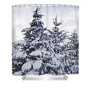 Northumberland, England Snow-covered Shower Curtain by John Short