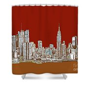 Nyc Red Sepia  Shower Curtain by Adendorff Design