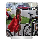 Off To Save The World- Back By Naptime Shower Curtain by Anjanette Douglas