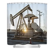 Oil Derrick Shower Curtain by Mike Raabe