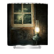 Oil Lamp On Table By Window Shower Curtain by Jill Battaglia