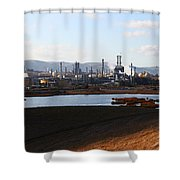 Oil Refinery Industrial Plant In Martinez California . 7d10398 Shower Curtain by Wingsdomain Art and Photography
